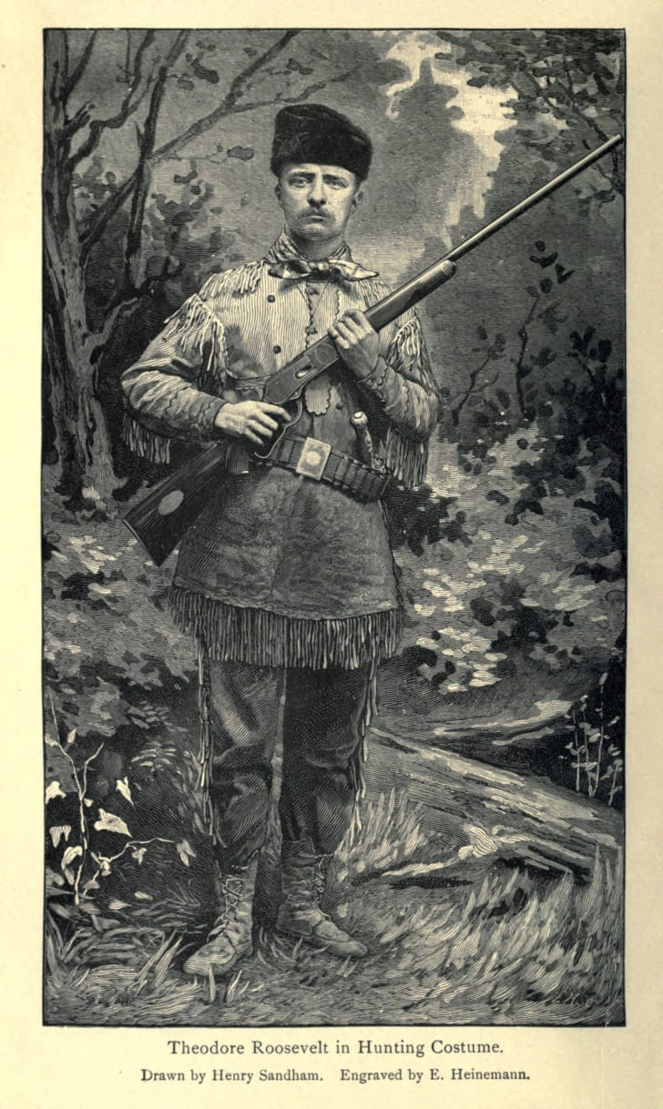 Portrait of Theodore Roosevelt in hunting outfit.