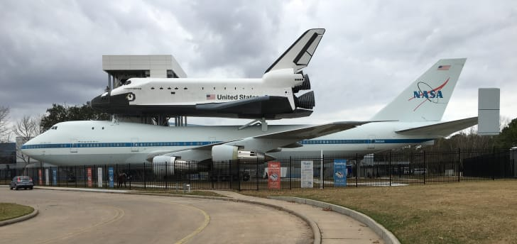 Space Shuttle Independence and Shuttle Carrier Aircraft N905NA at Space Center Houston.