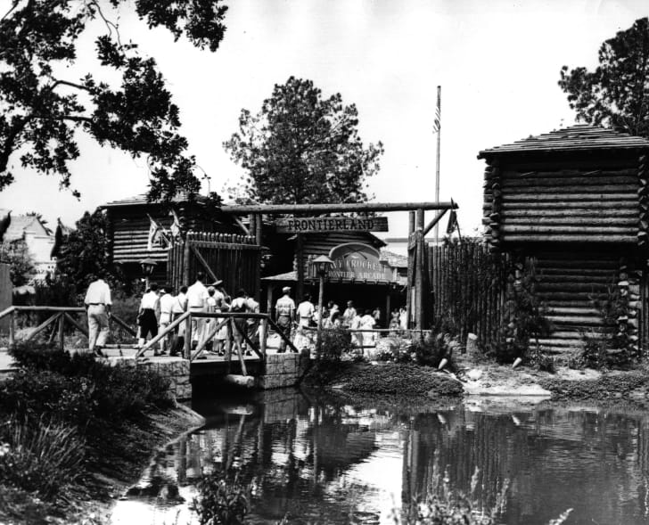 A photo of Frontierland, a part of the Disney theme parks.