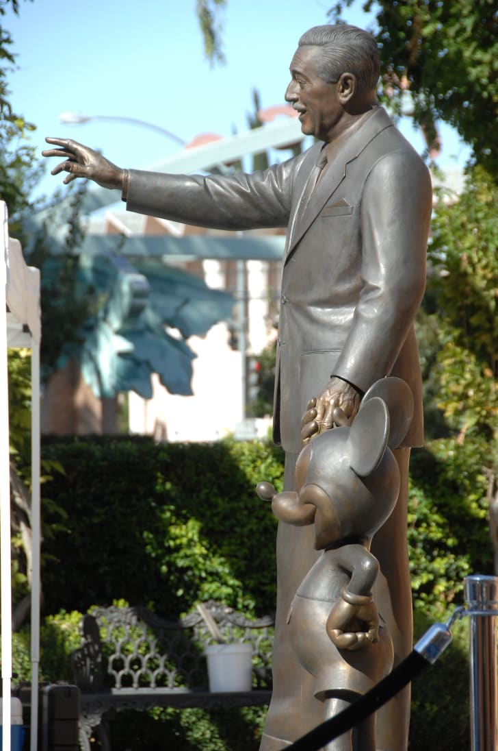 A statue of Walt Disney and Mickey Mouse.