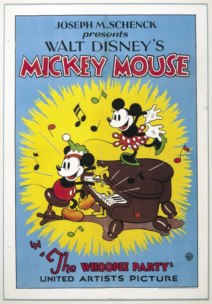 A vintage Mickey Mouse movie poster.