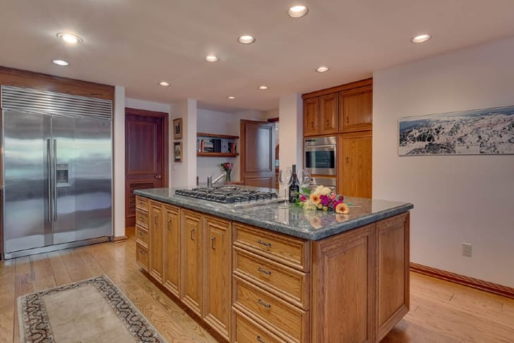 The interior of a home on Lake Tahoe in Homewood, California is pictured