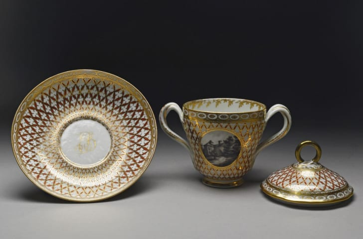 Porcelain chocolate cups and saucers from late 18th-century England.