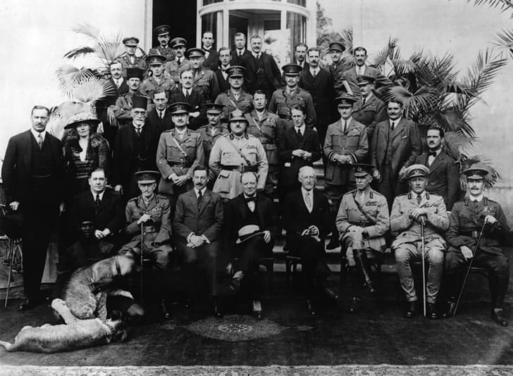 Gertrude Bell (second from left, second row) and the Members of the Mesopotamia Commission