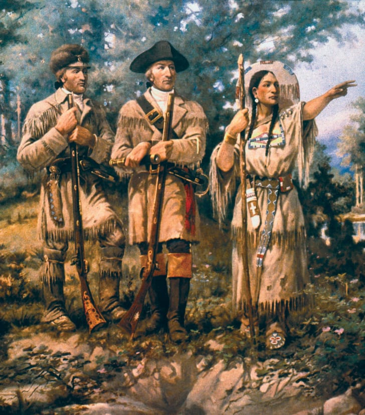 A portrait of Sacagawea with Lewis and Clarke.