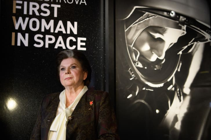 Valentina Tereshkova, the first woman to travel into space, at the Science Museum in London, England.