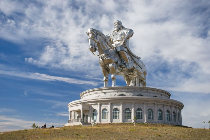 Statue of Genghis Khan on horseback in Ulaanbaatar, Mongolia.