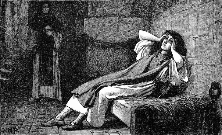 An illustration of Joan of Arc having visions.