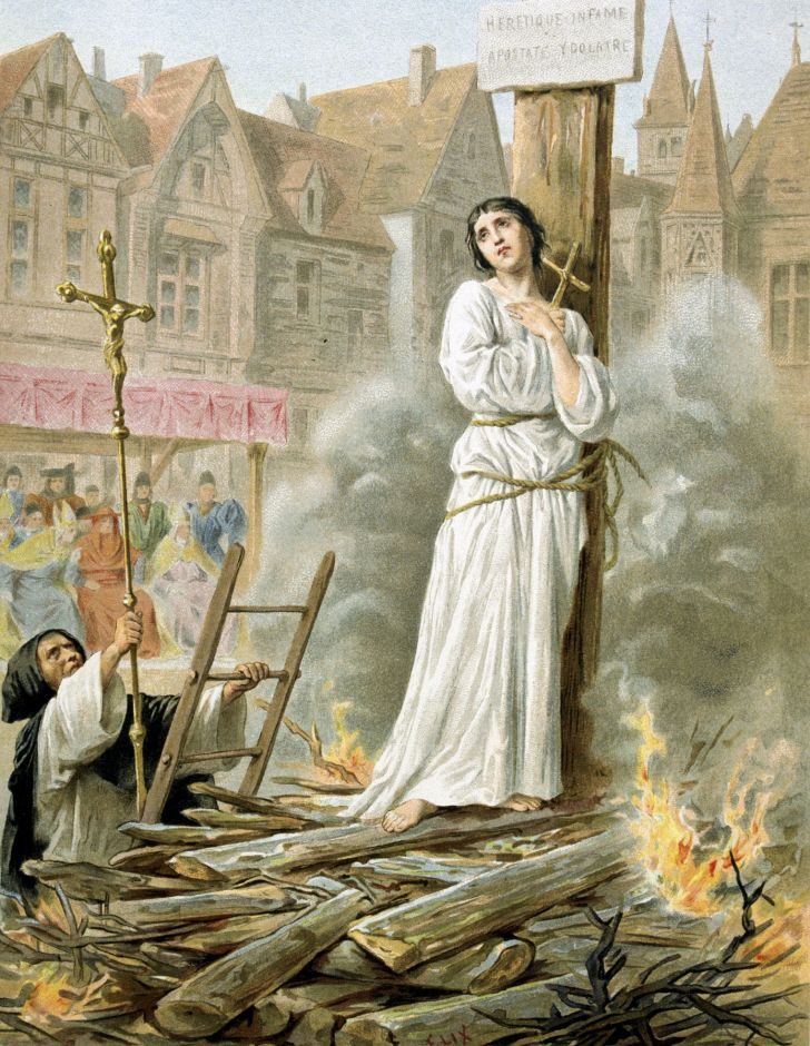 Joan of Arc burning at the stake.