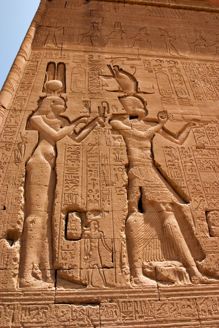 The only carving of Cleopatra pictured with her son, Caesarion, at the Temple of Hathor in Egypt