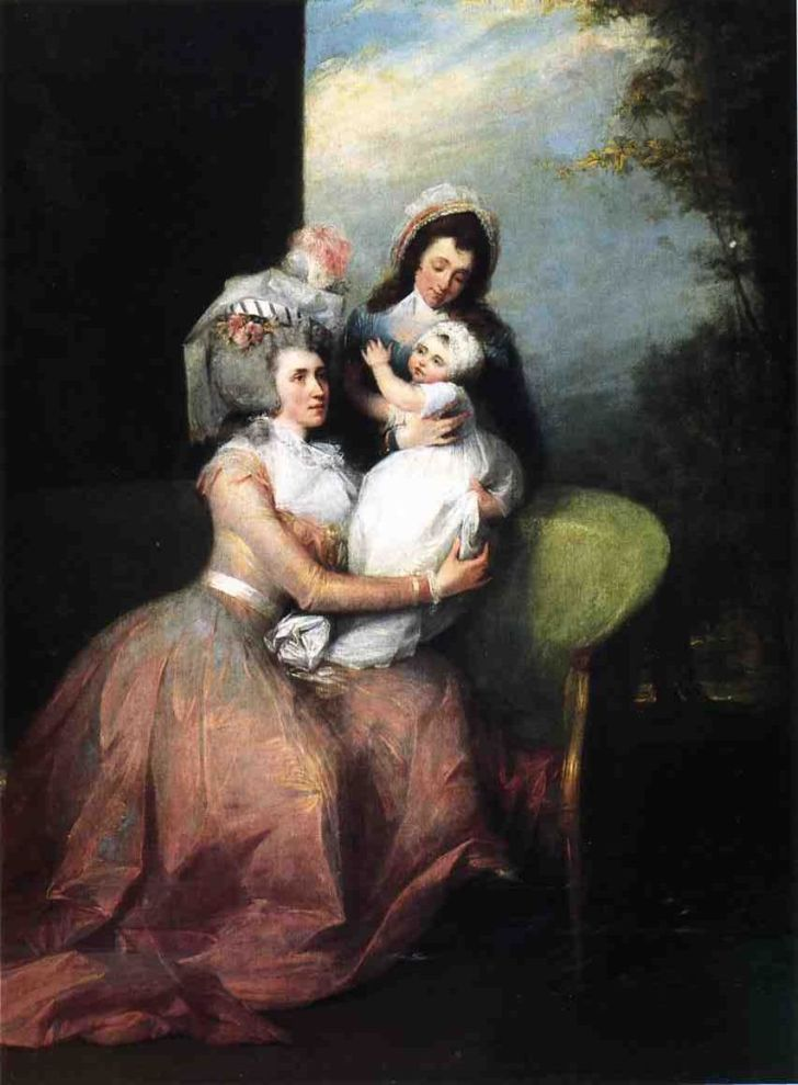 portrait of angelica schuyler church with her son and servant