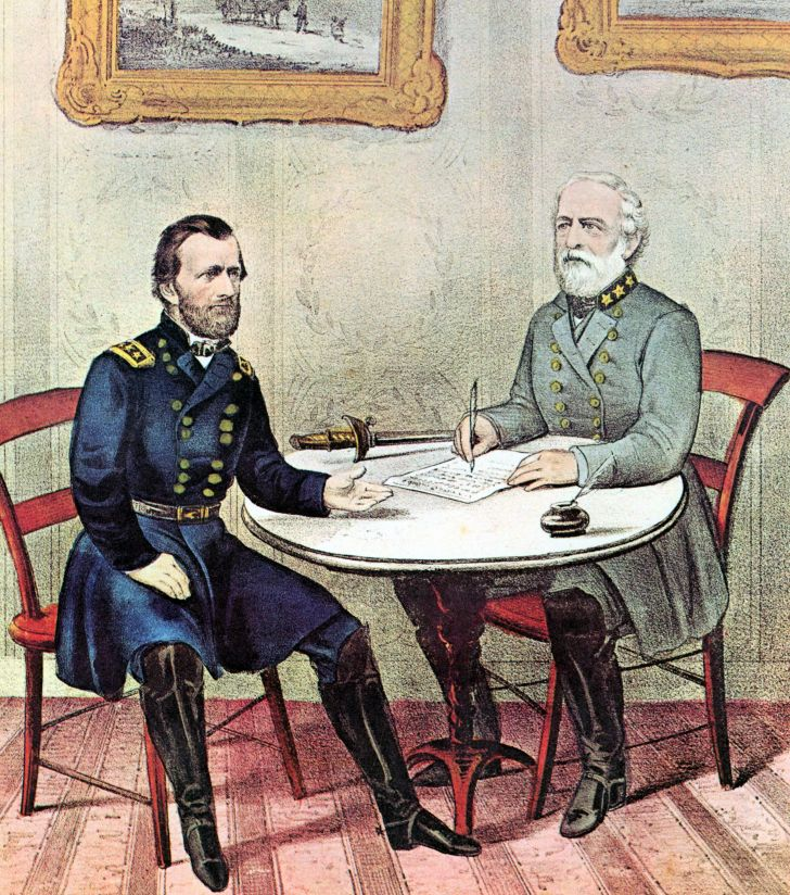 An illustration of Ulysses S. Grant and Robert E. Lee.