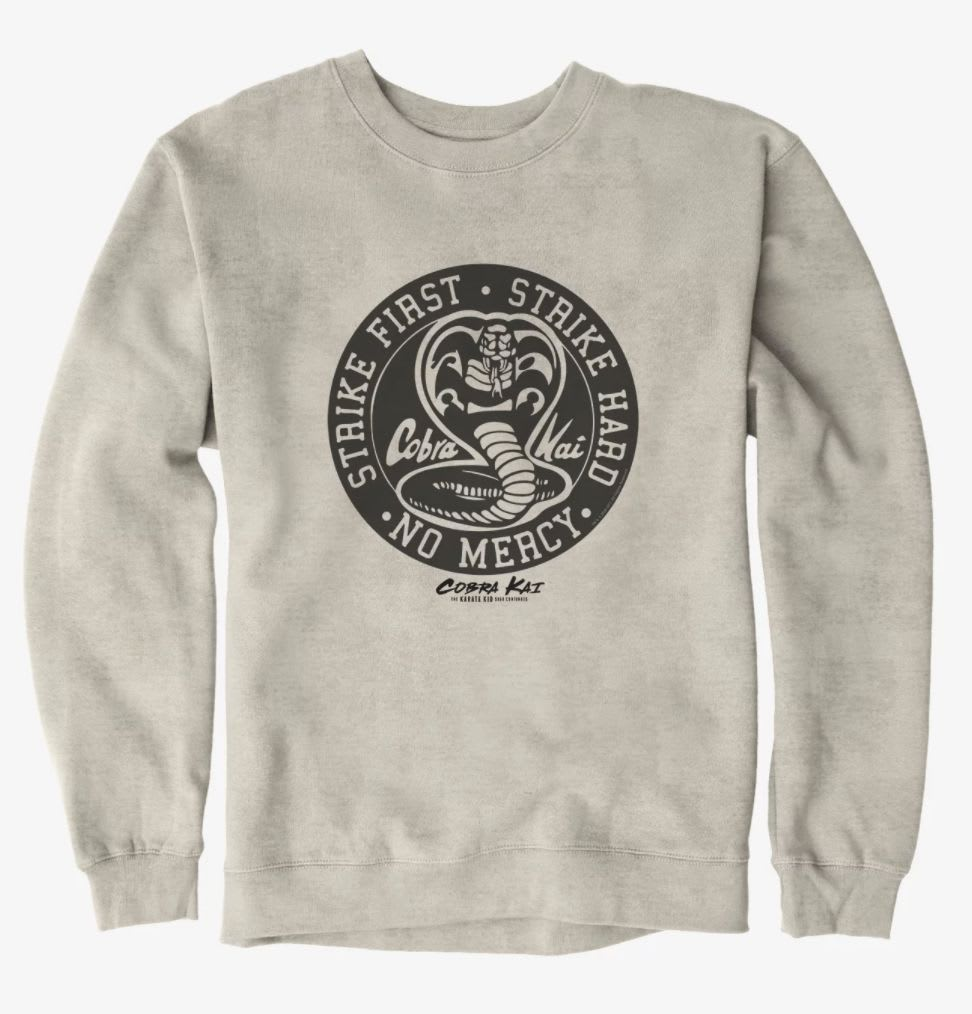 "Discover the 'Cobra Kai' ""Strike First. Strike Hard. No Mercy"" sweatshirt at Hot Topic."