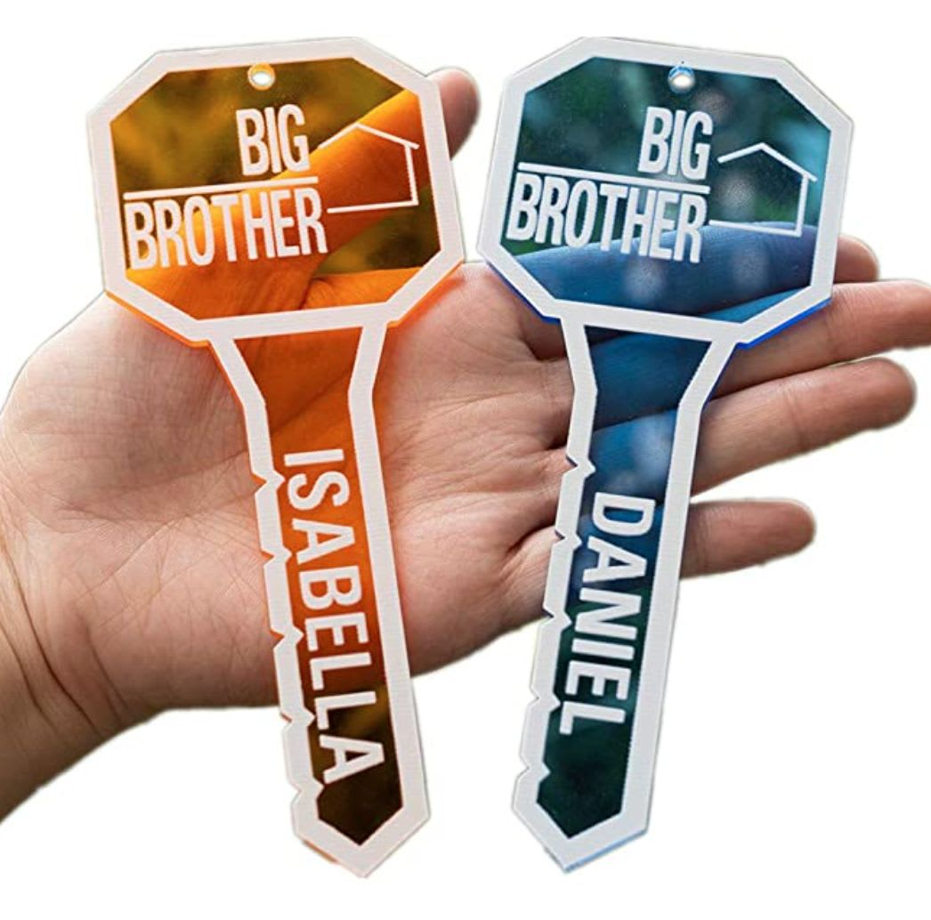 Discover Zakally's 'Big Brother' logo personalized key keychain available on Amazon.