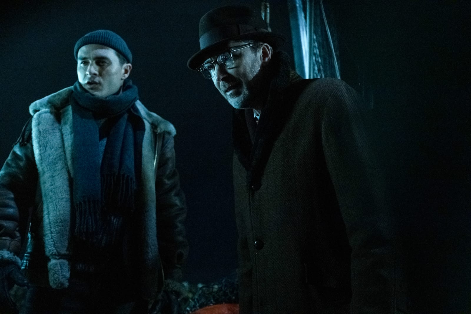 Michael Malarkey and Aidan Gillen in Project Blue Book