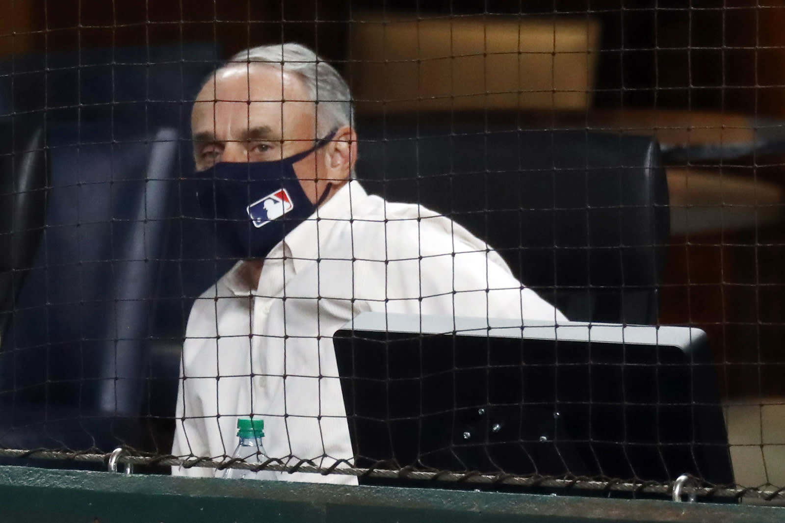 Commissioner of Baseball Rob Manfred looks on. Seattle Mariners