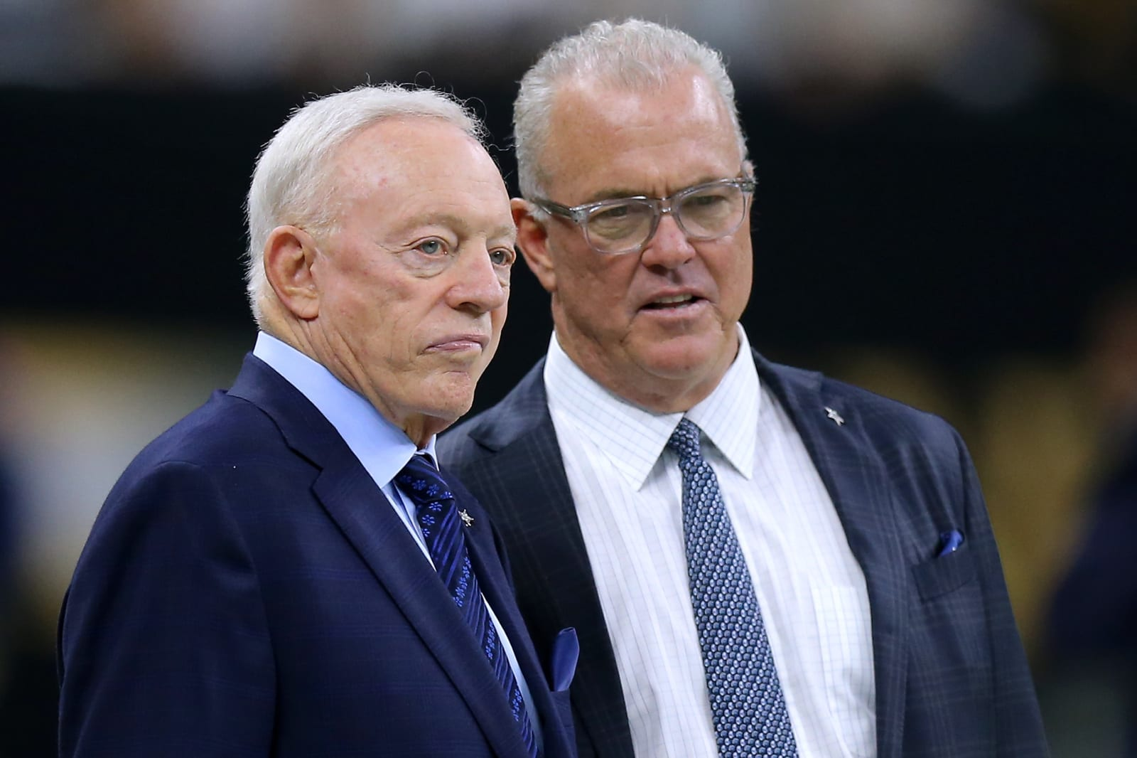 Owner Jerry Jones of the Dallas Cowboys and Executive Vice President Stephen Jones