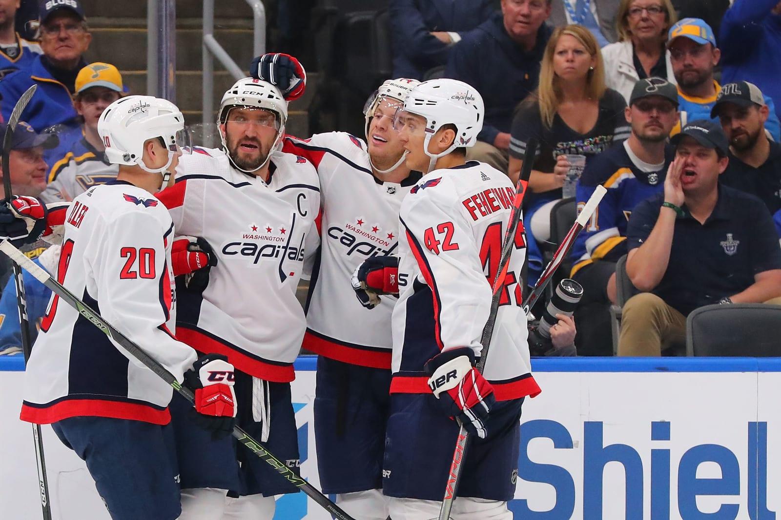 Fehervary celebrates a Alex Ovechkin goal against the St. Louis Blues preseason game