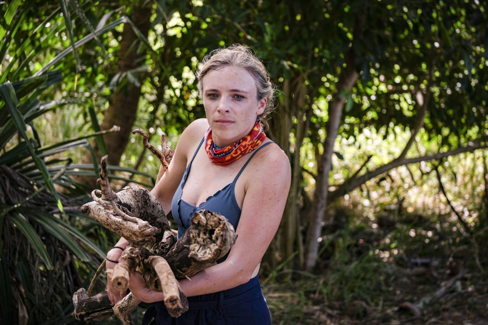 Sophie Clarke gathering wood Survivor Winners at War episode 1