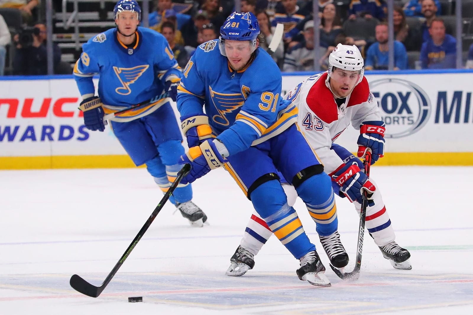 Vladimir Tarasenko #91 of the St. Louis Blues moves the puck up ice.