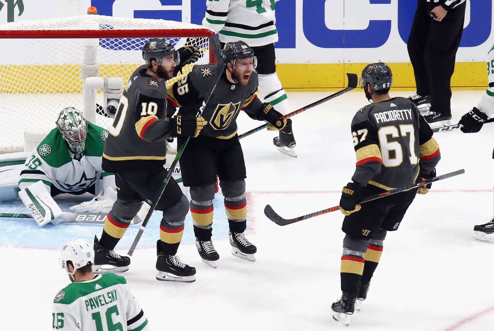 Paul Stastny #26 and the Vegas Golden Knights celebrate his goal against the Dallas Stars in Game Two