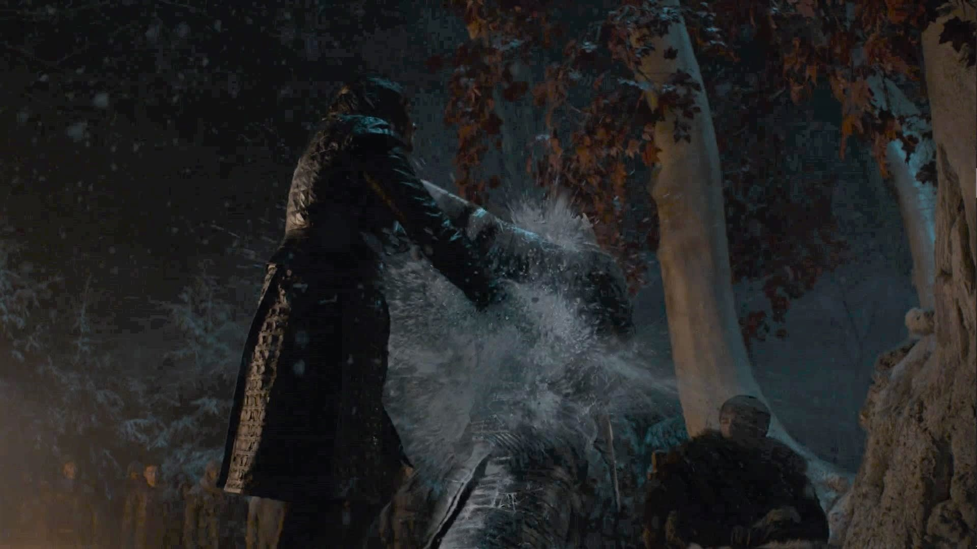 Tv Moments, When Arya attempts to murder the Night King in GOT, he turns around causing her to drop the dagger. However, she catches it with her other hand and stabs him.