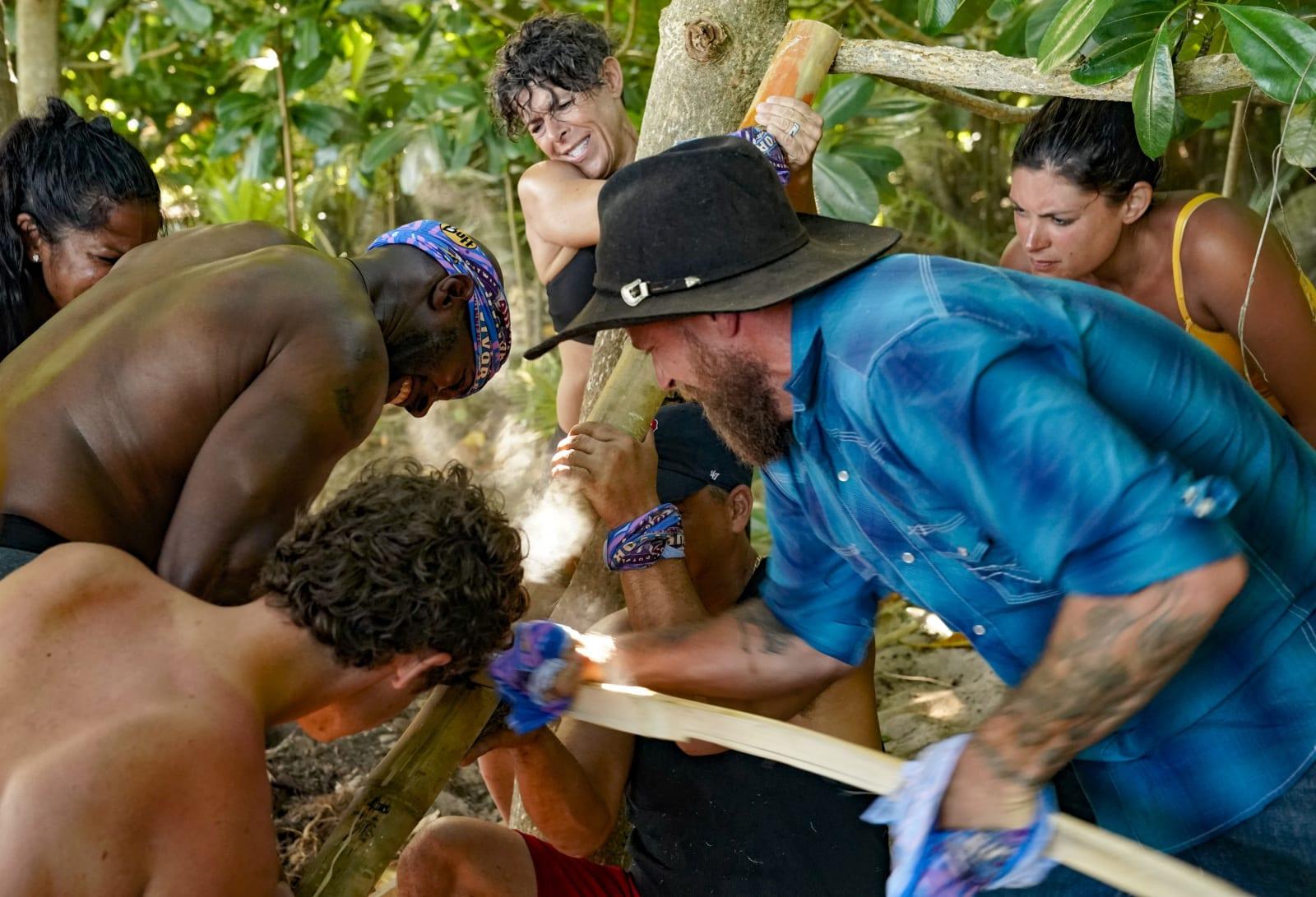 Sele Tribe making fire Survivor Winners at War episode 1