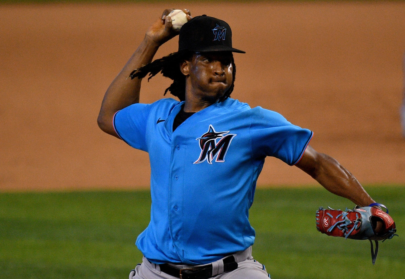 Jose Urena #62 of the Miami Marlins delivers a pitch during an intrasquad game.