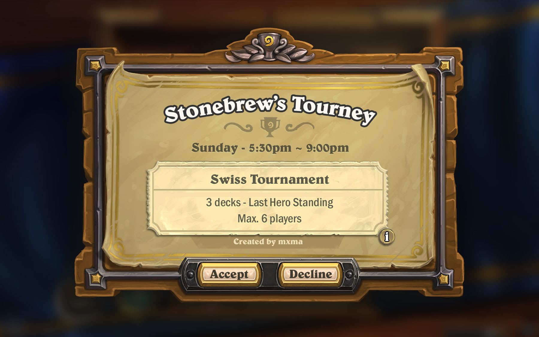 Hearthstone In-Game Tournament board beta