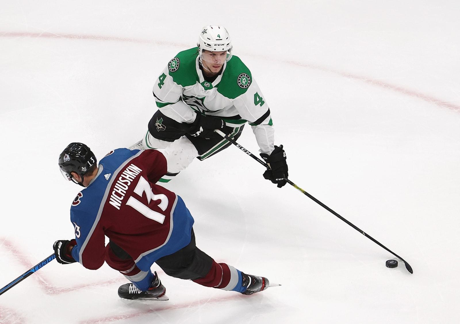 Miro Heiskanen #4 of the Dallas Stars skates against the Colorado Avalanche in Game Five