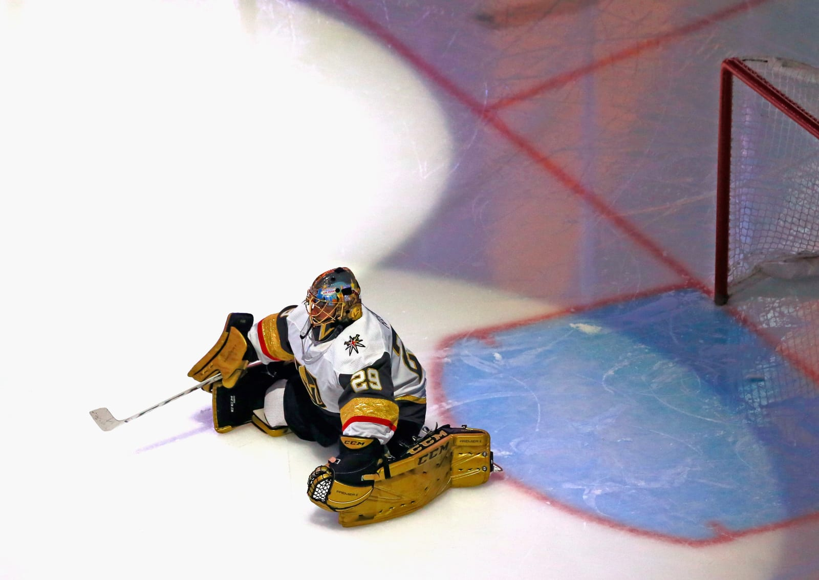 Marc-Andre Fleury #29 of the Vegas Golden Knights prepares to play against the Chicago Blackhawks