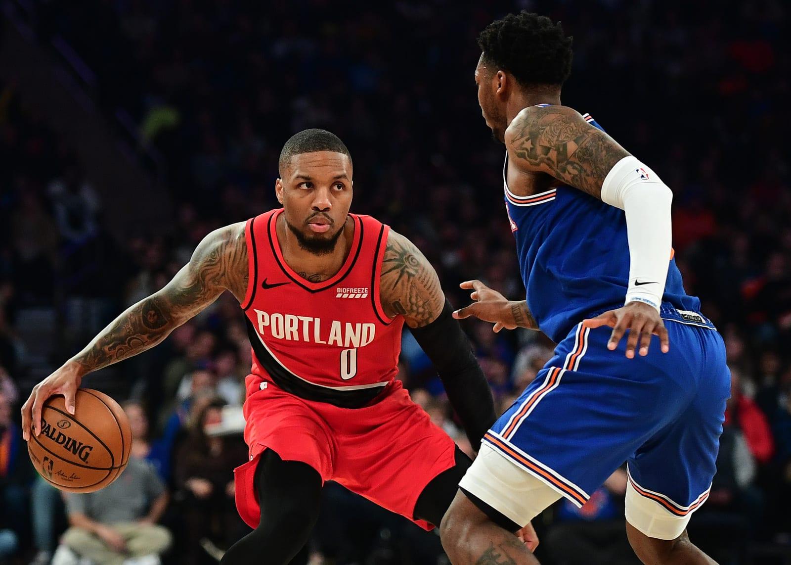 Damian Lillard, Elfrid Payton, New York Knicks, Portland Trail Blazers
