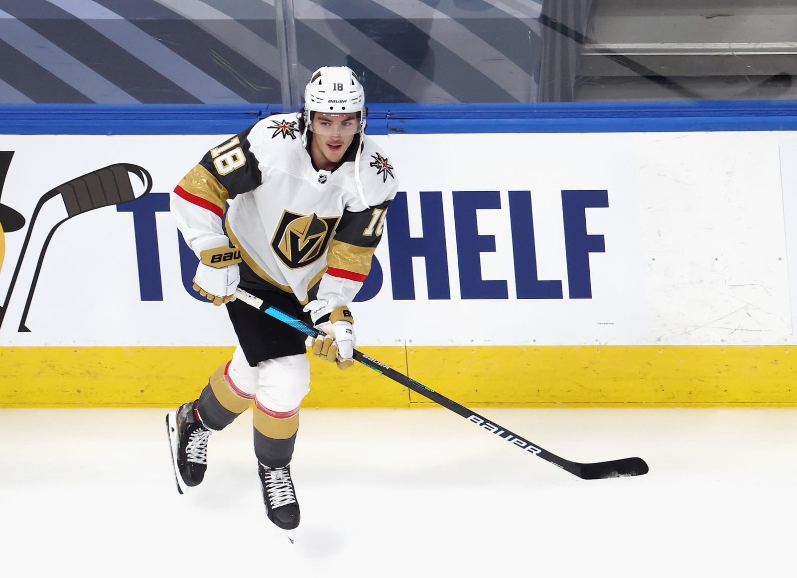 Peyton Krebs #18 of the Vegas Golden Knights skates in warm-ups prior to the game against the Dallas Stars in Game Four