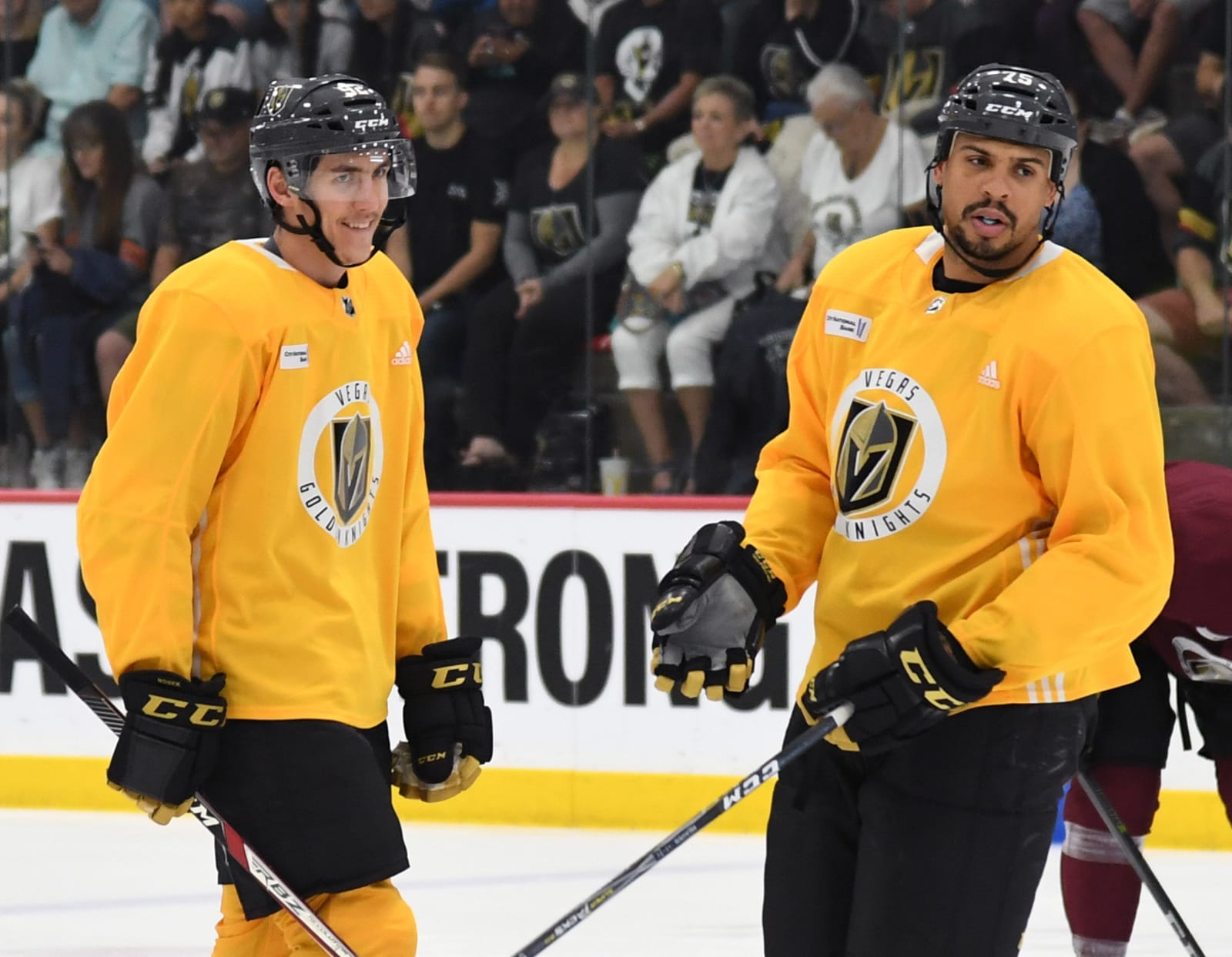 Vegas Golden Knights players Tomas Nosek (L) #92 and Ryan Reaves #75 skate during the team's first practice.