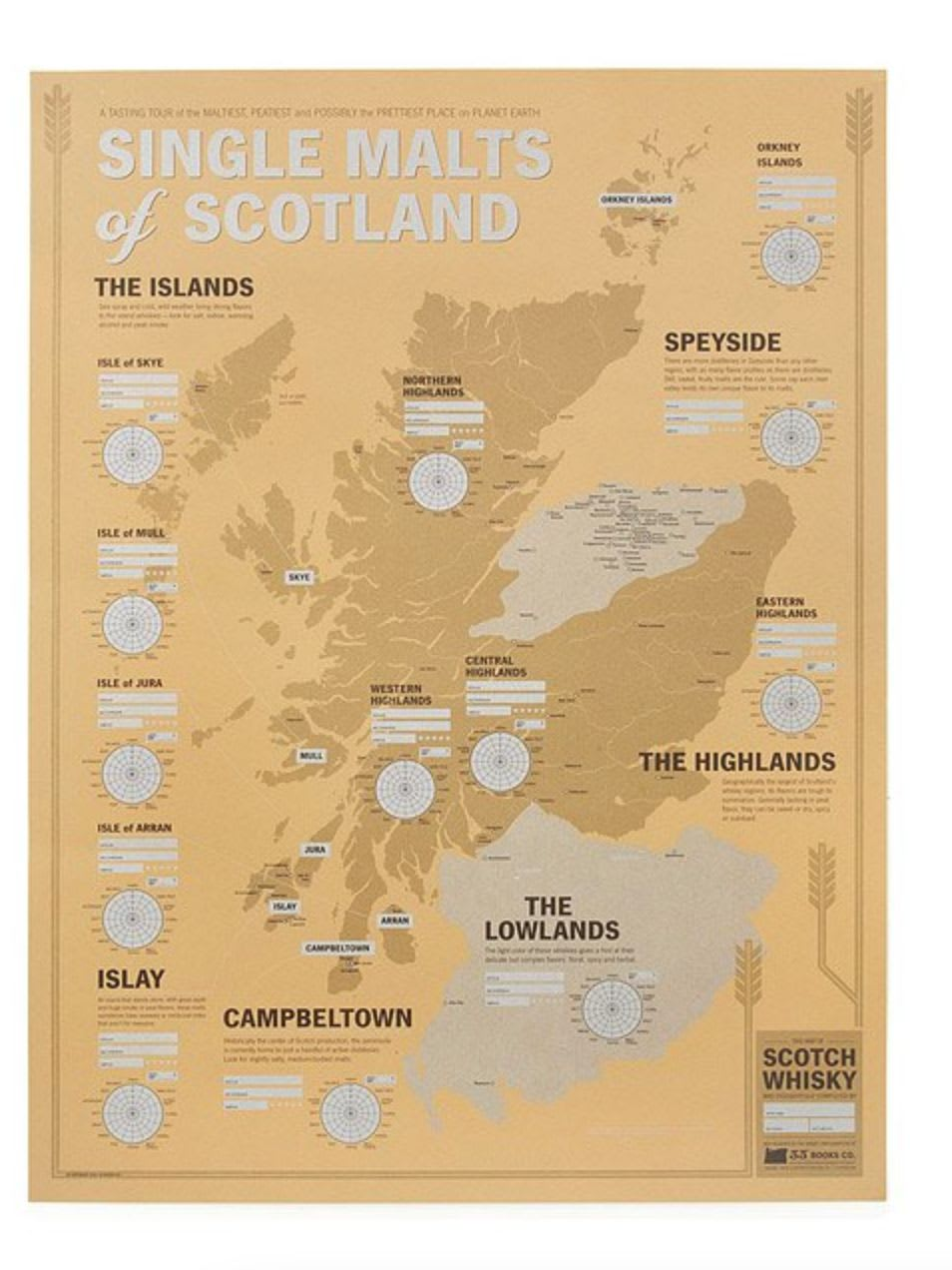Discover Dave Selden's single malt whisky map of Scotland on Uncommon Goods.
