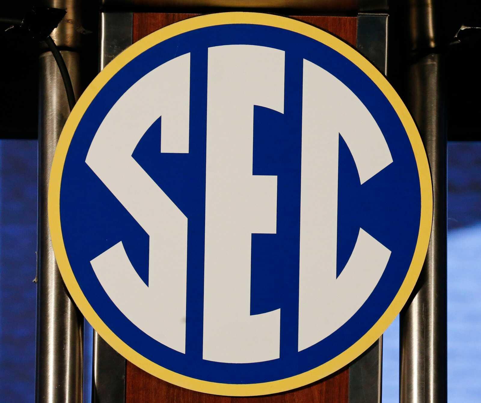 SEC logo seen during SEC Media Days at the Hyatt Regency in Hoover, Ala., Monday, July 19, 2021. [Staff Photo/Gary Cosby Jr.]