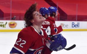 Cole Caufield shows off his flow, celebrating his goal against the Ottawa Senators