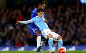 LONDON, ENGLAND - APRIL 27: Brahim Diaz of Manchester City is challenged by Mukhtar Ali of Chelsea during the FA Youth Cup Final - Second Leg between Chelsea and Manchester City at Stamford Bridge on April 27, 2016 in London, England. (Photo by Clive Rose/Getty Images)