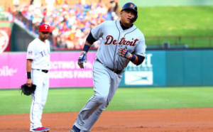 The Detroit Tigers could trade Miguel Cabrera, shown rounding third base.