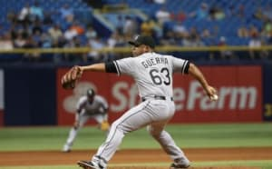 Jun 12, 2015; St. Petersburg, FL, USA; Chicago White Sox relief pitcher Junior Guerra (63) throws a pitch against the Tampa Bay Rays at Tropicana Field. Tampa Bay Rays defeated the Chicago White Sox 7-5. Mandatory Credit: Kim Klement-USA TODAY Sports