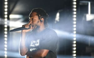 DENVER, CO - SEPTEMBER 14: Kendrick Lamar on the rock stage day one of Gandoozy Music Festival at Overland Park Golf Course on September 14, 2018 in Denver, Colorado. (Photo by Thomas Cooper/Getty Images)