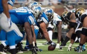 Detroit Lions offensive line . Mandatory Credit: Tim Fuller-USA TODAY Sports