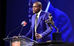 May 6, 2014; Oklahoma City, OK, USA; Oklahoma City Thunder forward Kevin Durant speaks after receiving the 2013-2014 MVP trophy at Thunder Events Center. Mandatory Credit: Alonzo Adams-USA TODAY Sports