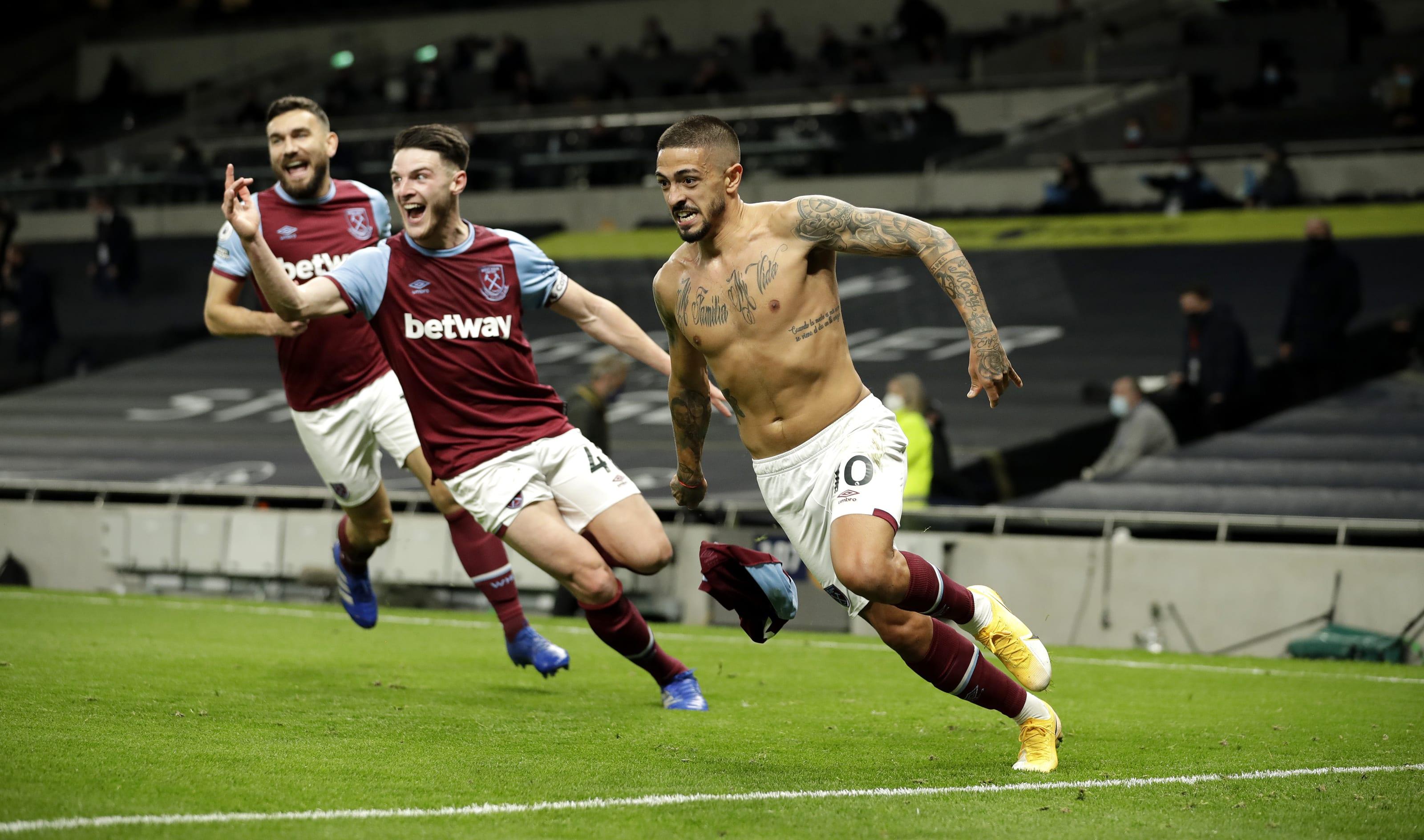 Manuel Lanzini of West Ham United celebrates. (Photo by Matt Dunham - Pool/Getty Images)