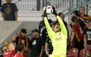 Jun 28, 2016; Salt Lake City, UT, USA; Seattle Sounders FC goalkeeper Tyler Miller (1) jumps to grab the ball during overtime against Real Salt Lake at Rio Tinto Stadium. Regulation ended in a 1-1 draw and Seattle advanced on a penalty shootout. Mandatory Credit: Russ Isabella-USA TODAY Sports