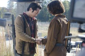 "Glenn (Steven Yeun) and Maggie Greene (Lauren Cohan) - The Walking Dead_Season 3, Episode 15_""This Sorrowful Life"" - Photo Credit: Gene Page/AMC"