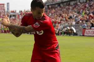 Sebastian Giovinco celebrating his goal against the Philadelphia Union (Mandatory Credit: Amil Delic)