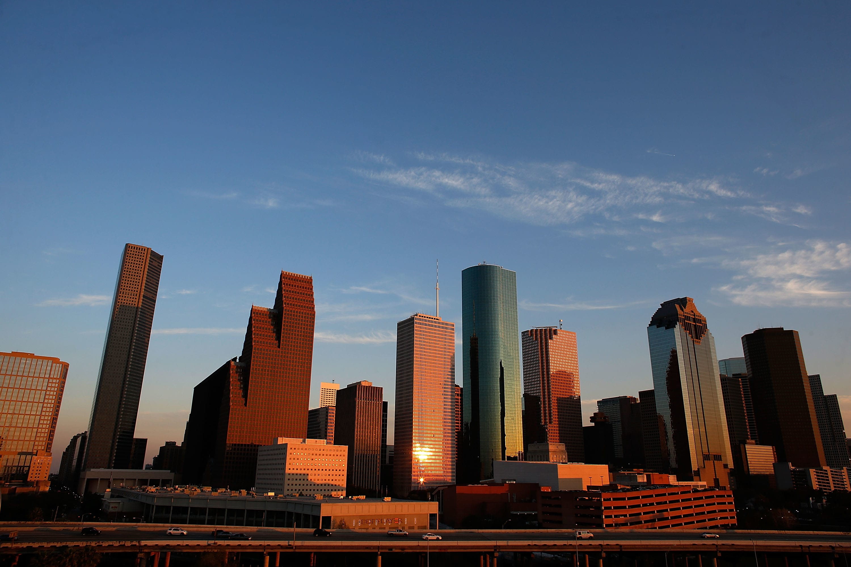 Houston sports and skyline