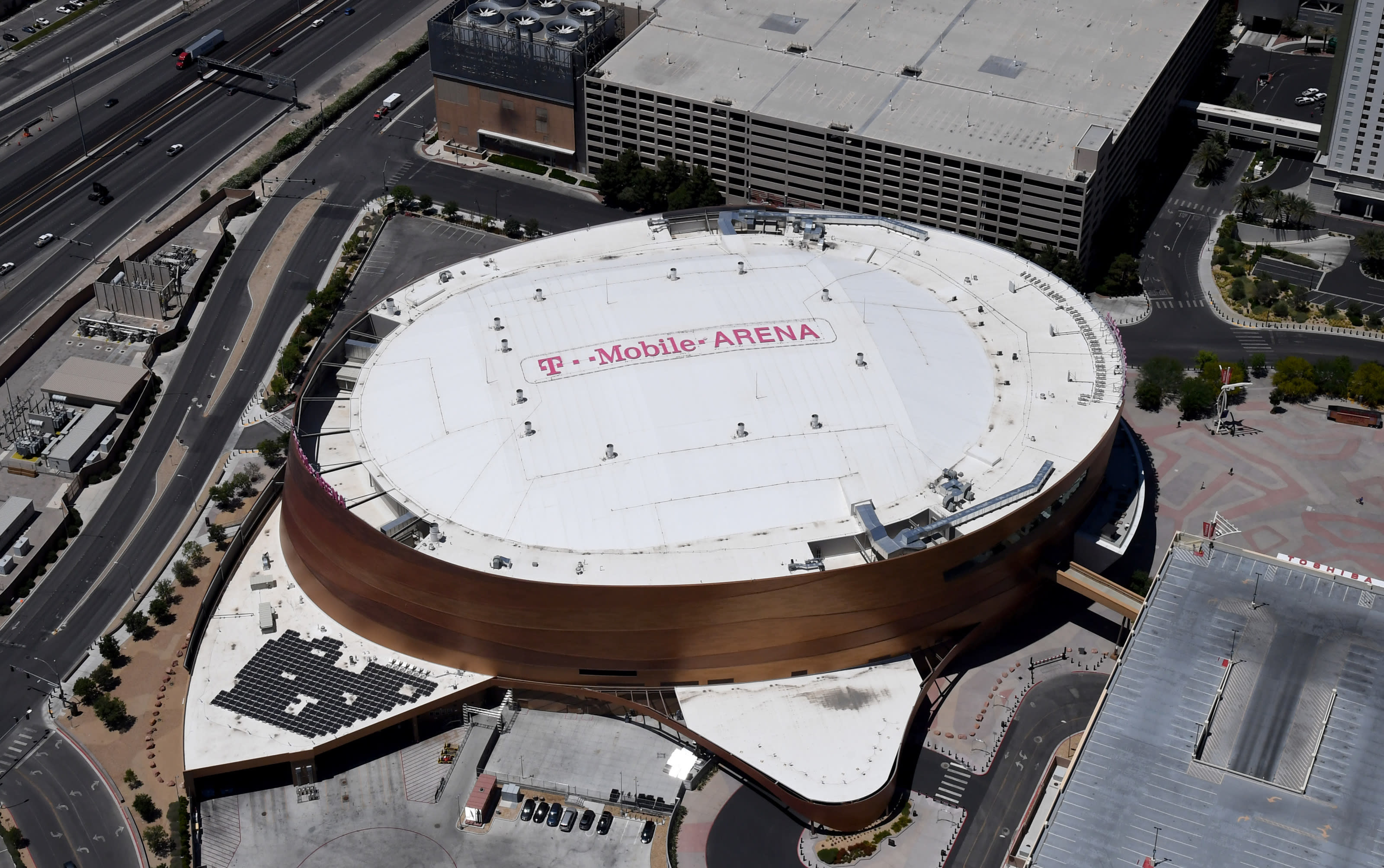 An aerial view shows T-Mobile Arena, home of the NHL's Vegas Golden Knights.
