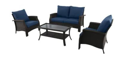 Style Selections 4-Piece Metal Frame Patio Conversation Set with Cushions